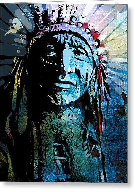 Indian Chief Greeting Cards - Sioux Chief Greeting Card by Paul Sachtleben