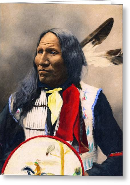 Sioux Chief Portrait Greeting Card by Georgiana Romanovna