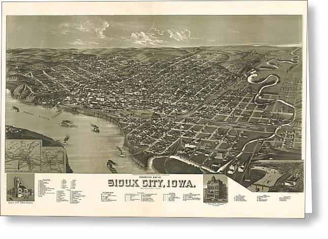 Sioux City Iowa 1888 Greeting Card by Mountain Dreams