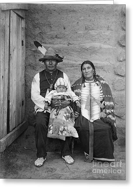 Breastplate Greeting Cards - SIOUX FAMILY, c1908 Greeting Card by Granger