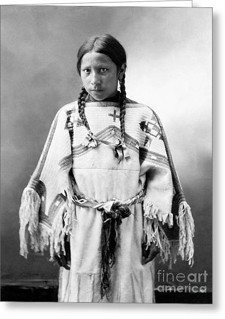 Textile Photographs Greeting Cards - SIOUX GIRL, c1900 Greeting Card by Granger