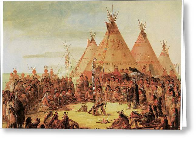 American Painters Greeting Cards - Sioux War Council Greeting Card by George Catlin