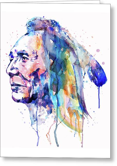 For Modern Decor Greeting Cards - Sioux Warrior Watercolor Greeting Card by Marian Voicu