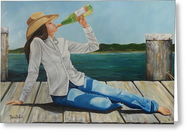 Wine Sipping Paintings Greeting Cards - Sippin on the dock of the Bay Greeting Card by Patricia DeHart