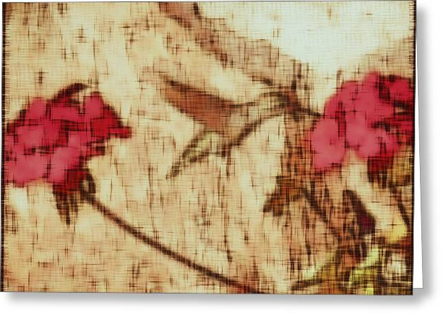 Red Geraniums Mixed Media Greeting Cards - Sipping Nectar Greeting Card by Kathy Franklin