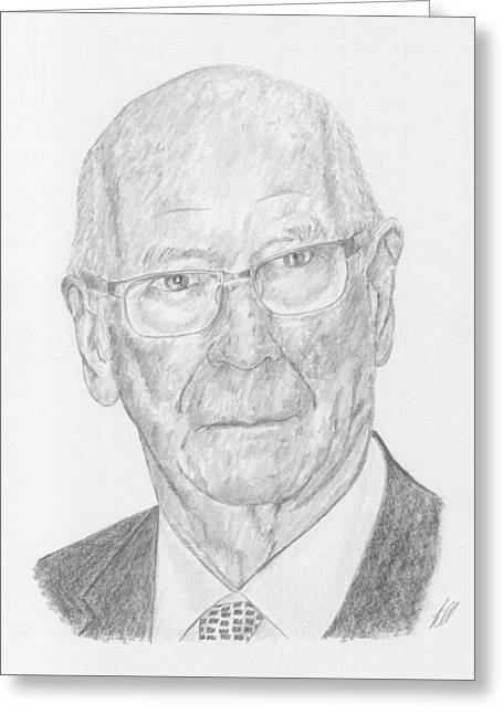 Player Drawings Greeting Cards - Sir Bobby Charlton Greeting Card by Keith Miller