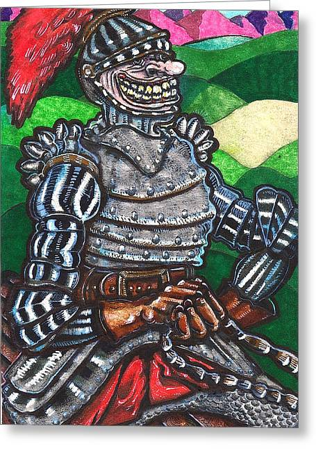 Leather Glove Drawings Greeting Cards - Sir Bols The Black Knight Greeting Card by Al Goldfarb