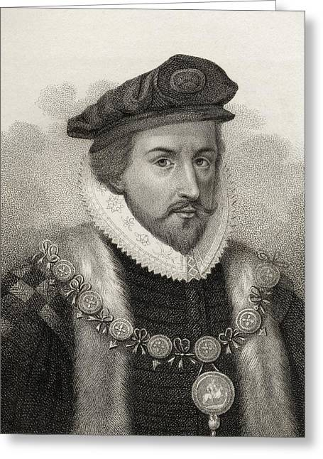 Christopher Drawings Greeting Cards - Sir Christopher Hatton 1540-1591 Lord Greeting Card by Vintage Design Pics