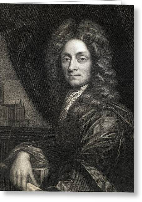 Christopher Drawings Greeting Cards - Sir Christopher Wren 1632-1723. English Greeting Card by Vintage Design Pics