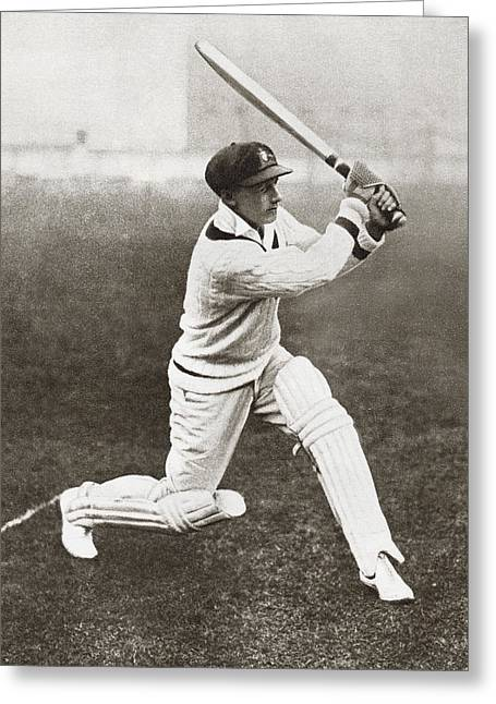 Cricketers Greeting Cards - Sir Donald George Bradman, 1908 Greeting Card by Vintage Design Pics
