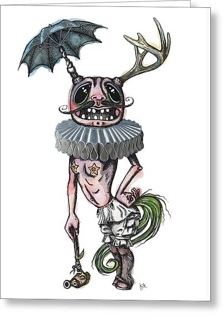 Bloomer Greeting Cards - Sir Earnest Picklebottom Greeting Card by Kelly Jade King