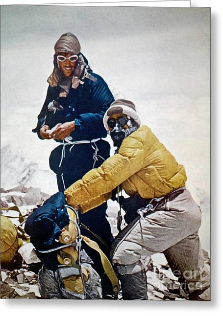 Climbing Greeting Cards - Sir Edmund Hillary Greeting Card by Granger