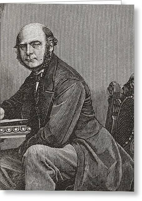 Francis Drawings Greeting Cards - Sir Francis Galton, 1822 Greeting Card by Vintage Design Pics