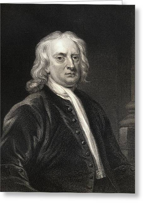 Isaac Newton Greeting Cards - Sir Isaac Newton 1642-1727. English Greeting Card by Ken Welsh