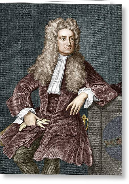 Isaac Newton Greeting Cards - Sir Isaac Newton, British Physicist Greeting Card by Sheila Terry