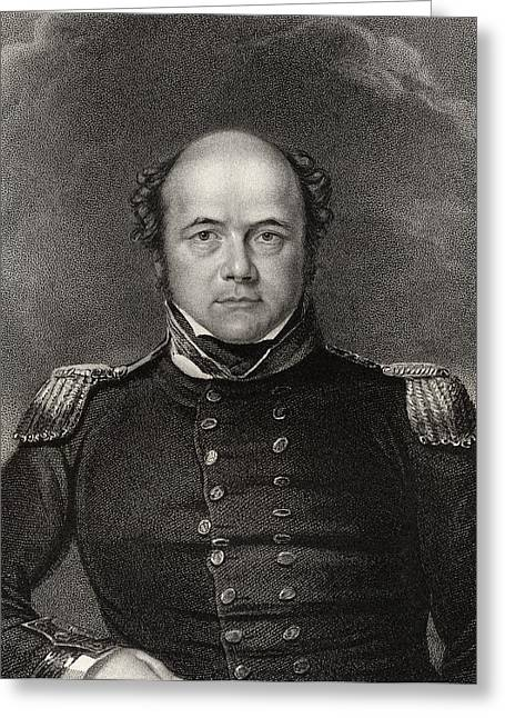 Franklin Drawings Greeting Cards - Sir John Franklin 1786 To 1847 Greeting Card by Ken Welsh