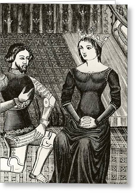 Guinevere Greeting Cards - Sir Lancelot Kneels In Front Of Queen Greeting Card by Ken Welsh