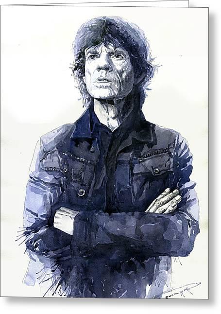 Watercolor Paper Greeting Cards - Sir Mick Jagger Greeting Card by Yuriy Shevchuk