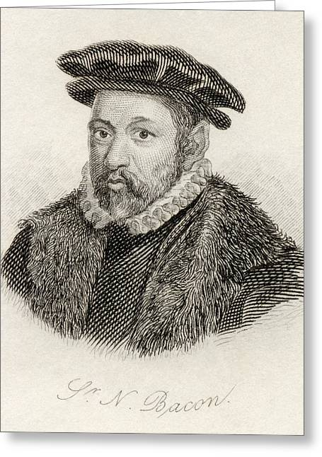 Nicholas Drawings Greeting Cards - Sir Nicholas Bacon 1510 - 1579. English Greeting Card by Ken Welsh