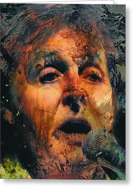 Paul Mccartney Greeting Cards - Sir Paul Singing Greeting Card by Yury Malkov