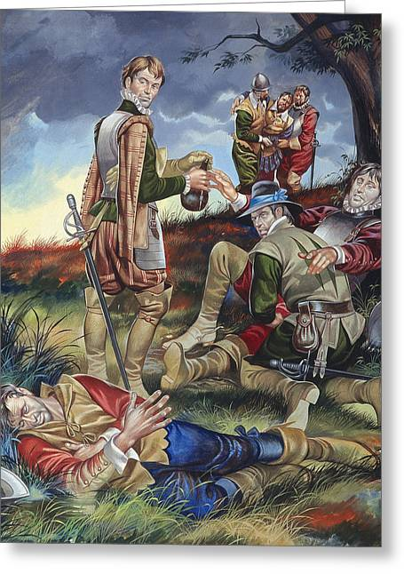 Injured Greeting Cards - Sir Philip Sidney at The Battle of Zutphen Greeting Card by Ron Embleton