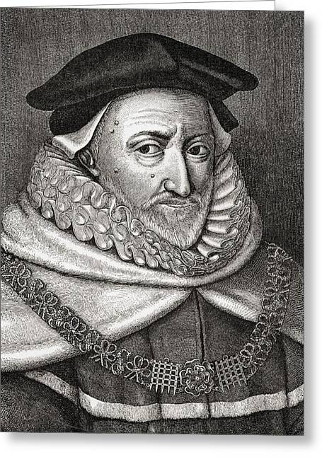 Chief Justice Drawings Greeting Cards - Sir Ranulph Crewe 1558 - 1646. English Greeting Card by Vintage Design Pics