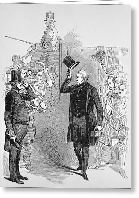 Statesmen Drawings Greeting Cards - Sir Robert Peel arriving at the House of Commons Greeting Card by English School