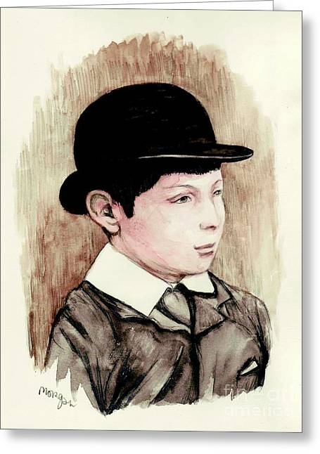 British Prime Minister Greeting Cards - Sir Winston Churchill Schoolboy Greeting Card by Morgan Fitzsimons