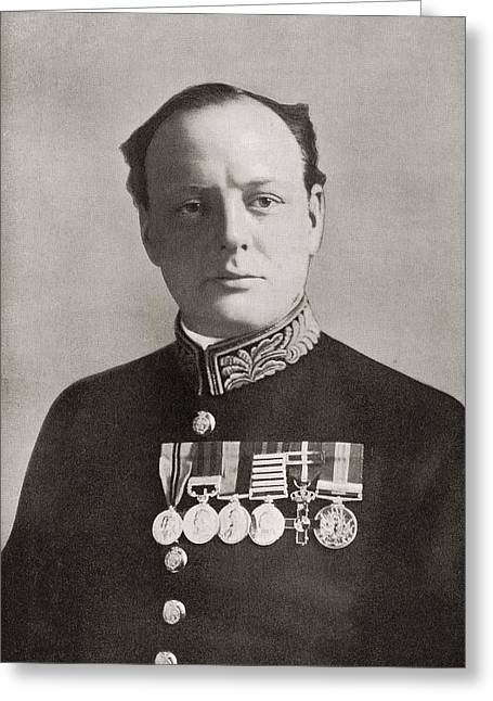 Conservative Drawings Greeting Cards - Sir Winston Leonard Spencer-churchill Greeting Card by Vintage Design Pics