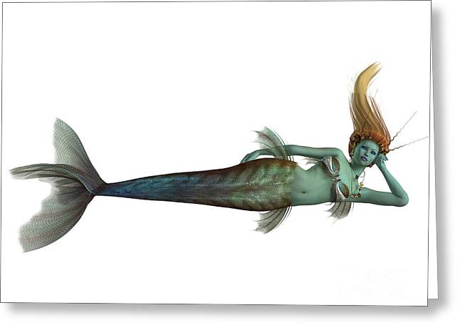 Siren Underwater Greeting Cards - Siren Mermaid on White Greeting Card by Corey Ford