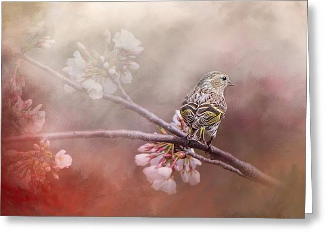 For The Garden Greeting Cards - Siskin In The Garden Greeting Card by Jai Johnson