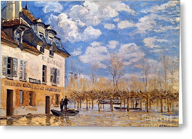 1876 Greeting Cards - Sisley: Flood, 1876 Greeting Card by Granger