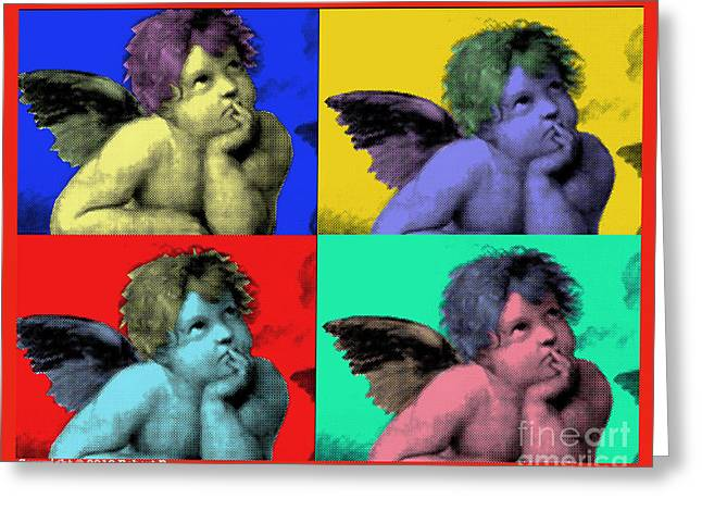Sisteen Chapel CHERUB ANGELS after Michelangelo after Warhol Robert R Splashy Art POP ART PRINTS Greeting Card by Robert R Splashy Art