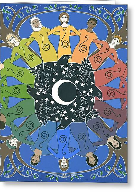 Unity Greeting Cards - Sister Circle Greeting Card by Karen MacKenzie