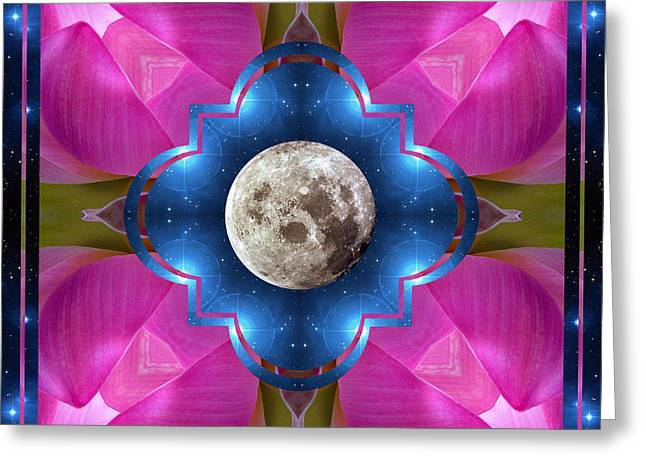 Lotus Full Bloom Greeting Cards - Sister Moon Greeting Card by Bell And Todd