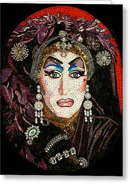 Mosaic Portraits Mixed Media Greeting Cards - Sister Roma Greeting Card by Michael Kruzich