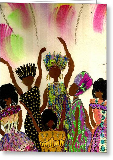 Art Therapy Greeting Cards - Sisterhood Greeting Card by Angela L Walker