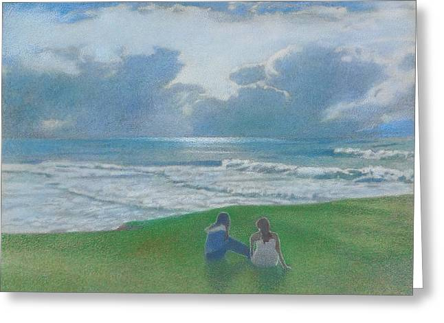 Foggy Ocean Paintings Greeting Cards - Sisters #2 Greeting Card by Mark  Leavitt