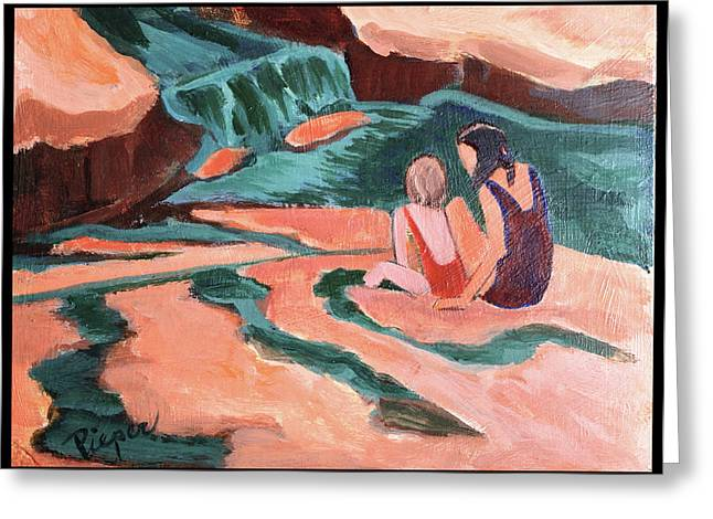 Sisters At Slide Rock Greeting Card by Betty Pieper