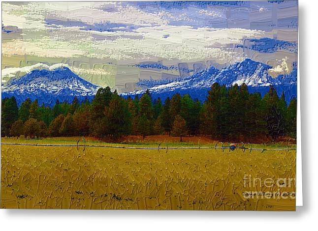 Mountain Valley Greeting Cards - Sisters Cascade Range Greeting Card by Diane E Berry