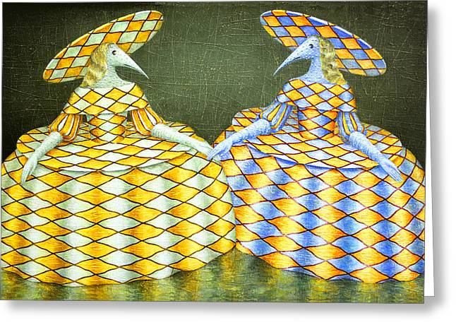 Imaginary World Greeting Cards - Sisters Greeting Card by Lolita Bronzini