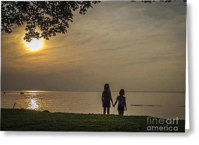 Reflection In Water Greeting Cards - Sisters Love Greeting Card by Joann Long