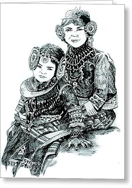 Joyful Drawings Greeting Cards - Sisters Greeting Card by Ramneek Narang