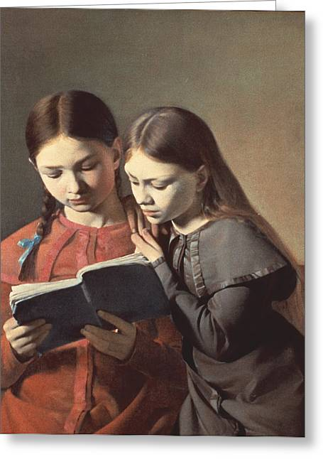 Youthful Greeting Cards - Sisters Reading a Book Greeting Card by Carl Hansen