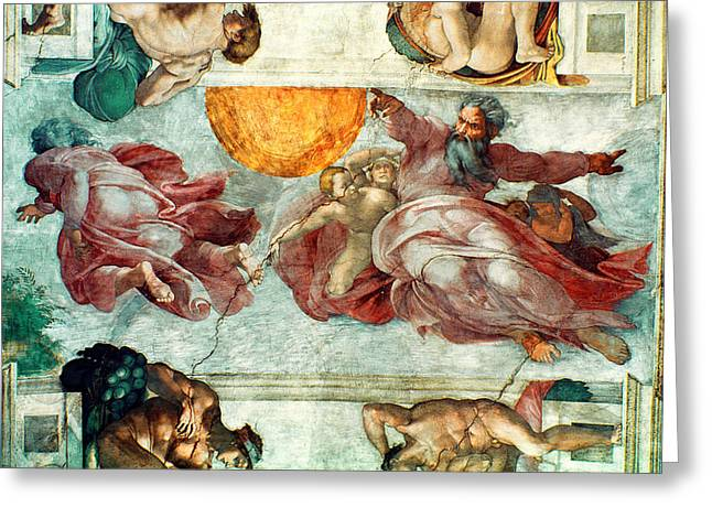 Fresco Greeting Cards - Sistine Chapel Ceiling Creation of the Sun and Moon Greeting Card by Michelangelo