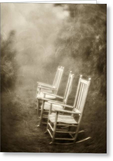 Empty Chairs Greeting Cards - Sit A Spell-sepia Greeting Card by Joye Ardyn Durham