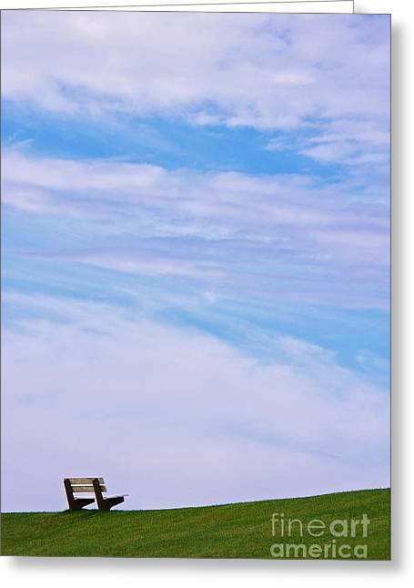 Bench Photographs Greeting Cards - Sit down and relax...  Greeting Card by Angela Doelling AD DESIGN Photo and PhotoArt