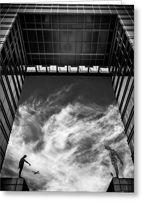 Building Gate Greeting Cards - Sit Down! Greeting Card by Tomer Eliash