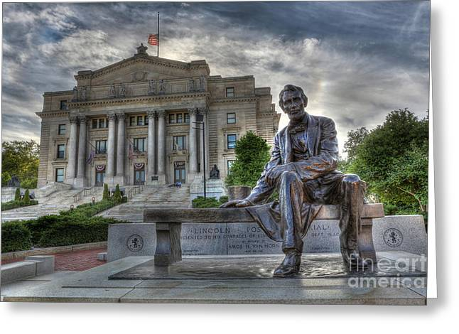 Gutzon Greeting Cards - Sit With Me - Seated Lincoln Memorial by Gutzon Borglum  Greeting Card by Lee Dos Santos