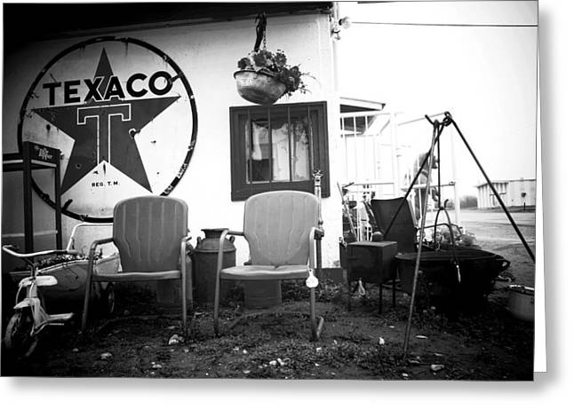 Lawn Chair Greeting Cards - Sitting at the Texaco black and white Greeting Card by Toni Hopper